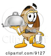 Football Mascot Cartoon Character Dressed As A Waiter And Holding A Serving Platter