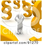 Royalty Free RF Clipart Illustration Of A Confused 3d Blanco Man Surrounded By Paragraph Symbols by Jiri Moucka