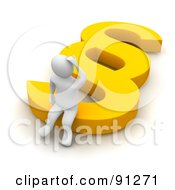 Royalty Free RF Clipart Illustration Of A 3d Confused Blanco Man Sitting On A Yellow Paragraph Symbol by Jiri Moucka