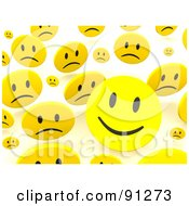 Royalty Free RF Clipart Illustration Of A Background Of 3d Happy And Sad Smiley Faces Over White