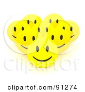 Royalty Free RF Clipart Illustration Of A Group Of 3d Happy Smiley Faces