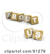 Royalty Free RF Clipart Illustration Of 3d Tan Blocks Spelling About Us by Jiri Moucka