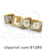 Royalty Free RF Clipart Illustration Of 3d Tan Blocks Spelling Blog by Jiri Moucka