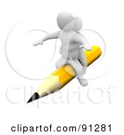 Royalty Free RF Clipart Illustration Of A 3d Blanco Couple Riding A Yellow Pencil by Jiri Moucka