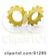 Pair Of 3d Yellow Gear Wheels Turning Over A Reflective White Backgroun