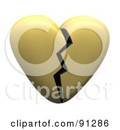 3d Shiny Gold Or Beige Heart With A Crack Down The Center
