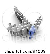 Royalty Free RF Clipart Illustration Of A 3d Blue Man At The Tip Of An Arrow Of White Followers by Jiri Moucka