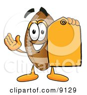 Football Mascot Cartoon Character Holding A Yellow Sales Price Tag