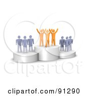 Royalty Free RF Clipart Illustration Of A 3d Orange Team Standing On A Winners Podium by Jiri Moucka