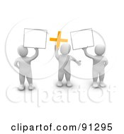 Royalty Free RF Clipart Illustration Of 3d Blanco Men Holding Blank Signs And A Plus Symbol by Jiri Moucka