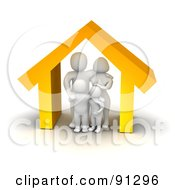 Royalty Free RF Clipart Illustration Of A 3d Blanco Family Standing Under An Orange House