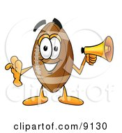 Clipart Picture Of A Football Mascot Cartoon Character Screaming Into A Megaphone