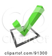 Royalty Free RF Clipart Illustration Of A 3d Green Check Mark Over A Box by Jiri Moucka