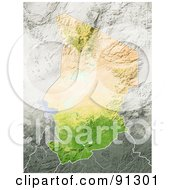 Royalty Free RF Clipart Illustration Of A Shaded Relief Map Of Chad by Michael Schmeling