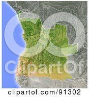 Royalty Free RF Clipart Illustration Of A Shaded Relief Map Of Angola by Michael Schmeling