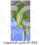 Royalty Free RF Clipart Illustration Of A Shaded Relief Map Of Burma Myanmar by Michael Schmeling