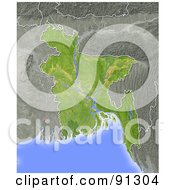 Royalty Free RF Clipart Illustration Of A Shaded Relief Map Of Bangladesh by Michael Schmeling