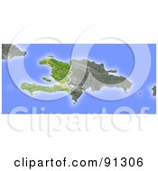 Royalty Free RF Clipart Illustration Of A Shaded Relief Map Of Haiti by Michael Schmeling