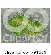 Royalty Free RF Clipart Illustration Of A Shaded Relief Map Of Czech Republic