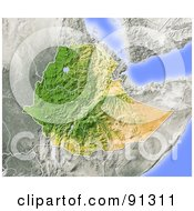 Royalty Free RF Clipart Illustration Of A Shaded Relief Map Of Ethiopia