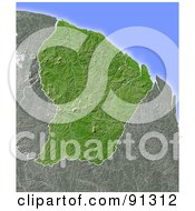 Royalty Free RF Clipart Illustration Of A Shaded Relief Map Of French Guiana