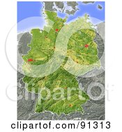 Royalty Free RF Clipart Illustration Of A Shaded Relief Map Of Germany by Michael Schmeling
