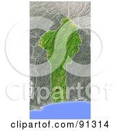 Royalty Free RF Clipart Illustration Of A Shaded Relief Map Of Benin