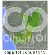 Royalty Free RF Clipart Illustration Of A Shaded Relief Map Of Congo