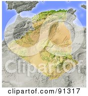 Royalty Free RF Clipart Illustration Of A Shaded Relief Map Of Algeria