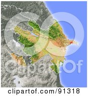 Royalty Free RF Clipart Illustration Of A Shaded Relief Map Of Azerbaijan