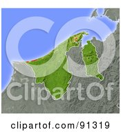 Royalty Free RF Clipart Illustration Of A Shaded Relief Map Of Brunei