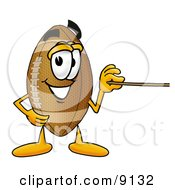 Clipart Picture Of A Football Mascot Cartoon Character Holding A Pointer Stick by Toons4Biz
