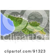 Royalty Free RF Clipart Illustration Of A Shaded Relief Map Of Georgia Republic