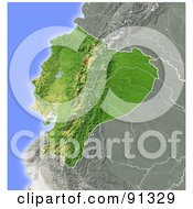 Royalty Free RF Clipart Illustration Of A Shaded Relief Map Of Ecuador