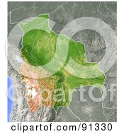 Royalty Free RF Clipart Illustration Of A Shaded Relief Map Of Bolivia