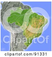 Royalty Free RF Clipart Illustration Of A Shaded Relief Map Of Brazil