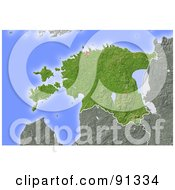 Royalty Free RF Clipart Illustration Of A Shaded Relief Map Of Estonia by Michael Schmeling