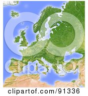 Royalty Free RF Clipart Illustration Of A Shaded Relief Map Of Europe