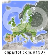 Shaded Relief Map Of The European Union
