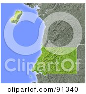 Royalty Free RF Clipart Illustration Of A Shaded Relief Map Of Equatorial Guinea