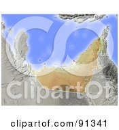 Royalty Free RF Clipart Illustration Of A Shaded Relief Map Of Arab Emirates