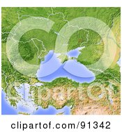 Royalty Free RF Clipart Illustration Of A Shaded Relief Map Of The Black Sea