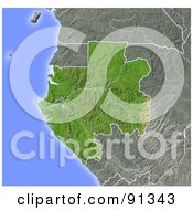 Royalty Free RF Clipart Illustration Of A Shaded Relief Map Of Gabon