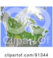 Royalty Free RF Clipart Illustration Of A Shaded Relief Map Of Canada