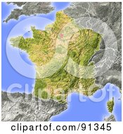Royalty Free RF Clipart Illustration Of A Shaded Relief Map Of France