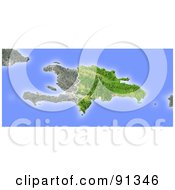 Royalty Free RF Clipart Illustration Of A Shaded Relief Map Of Dominican Republic