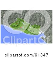 Royalty Free RF Clipart Illustration Of A Shaded Relief Map Of El Salvador