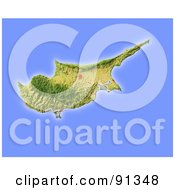 Royalty Free RF Clipart Illustration Of A Shaded Relief Map Of Cyprus