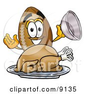 Clipart Picture Of A Football Mascot Cartoon Character Serving A Thanksgiving Turkey On A Platter by Toons4Biz