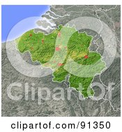 Royalty Free RF Clipart Illustration Of A Shaded Relief Map Of Belgium
